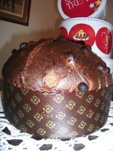 Panettone Milanese (Typical Italian Christmas Cake filled with raisins) Over 18 hour natural raising rest exclusively with sourdough. Sourdough naturally process gluten making any food more digestible and with a wonderful taste. I also make a Genovese version of this cake, which is flatter and filled with peanuts and raisins.